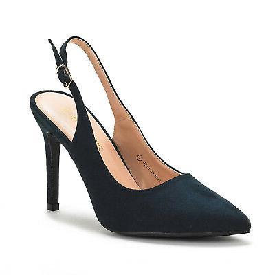 DREAM PAIRS Slim-Pointed Toe High Slingback Dress