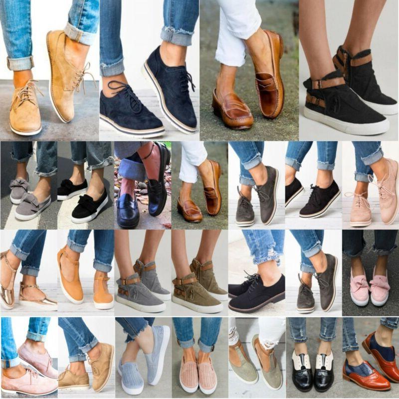 women slip on flat sneakers brogues oxfords