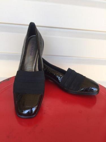 WOMENS ARAVON NEW BALANCE KASEY CROC LOAFER DRESS SHOE BLACK