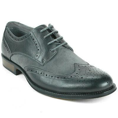 Alpine Swiss Zurich Mens Wing Shoes Two Tone Brogue Up
