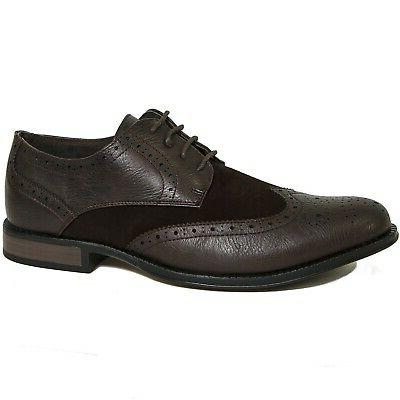 Alpine Swiss Zurich Mens Wing Tip Dress Shoes Two Tone Brogu