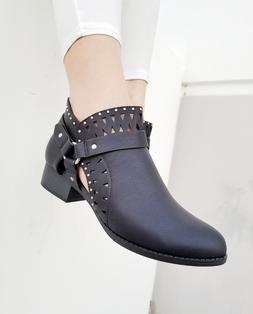 Ladies Black Ankle Dress Boots Toe Faux Quality Leather Boot