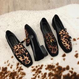 Ladies Cuban Heel Slip Ons Women Casual Leopard Loafers Dres