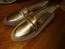 Carysma Ladies Gold Mesh Calypso Flat Dress Shoes 8.5M Slip