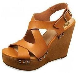 FERGIE LAUREN Women's Wedges Brown Platform Sandals Casual D