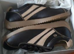 Skechers Leather Dress Casual Brown Shoes w/Cream Accents  9