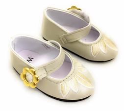 """Light Beige w/Gold Flower Accent Dress Shoes for 18"""" America"""