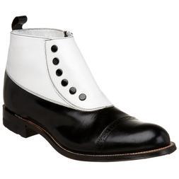 Stacy Adams Men's Madison Cap-Toe Spat Boot,Black/White,11 D
