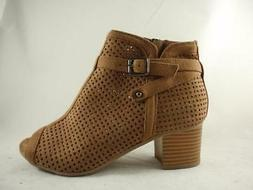 SODA MARLOWE Brown Women's Booties Zip Up Perforated Peep To