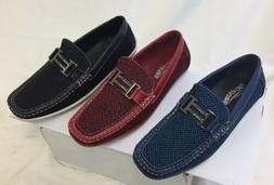 MEN GIOVANNI DRESS SHOES LOAFER CASUAL STYLE SLIP-ON BLUE RE