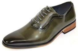 Men's Dress Shoes Plain Toe Oxford Burnished Smooth Olive Gr