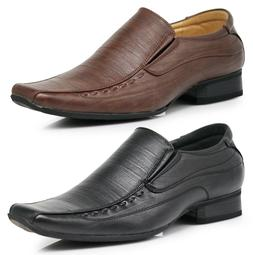 Men Leather Dress Shoes Formal Wedding Prom Slip On Square T