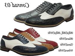 Men Man-made Leather Dress Shoes Wing Tip Oxford Lace Printe