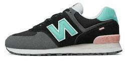 New Balance Men's 574 Marbled Street Shoes Black With Blue