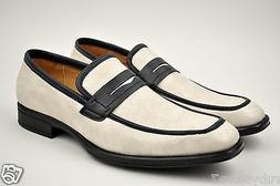 FARANZI Men's Beige Casual Shoes Slip On Dress Loafers High