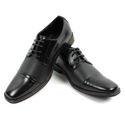 Men's Black Dress Shoes Cap Toe Lace Up Oxfords Leather Lini