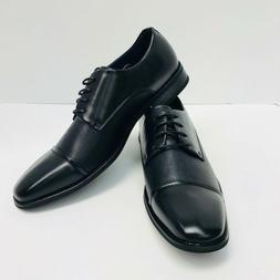 Men's Amali Black Dress Shoes Embossed Upper Wide Smooth Cap