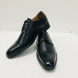 Men's Amali Black Dress Shoes Smooth Cap Toe Decorative Stit
