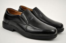 La Milano Men's Black Genuine Leather Dress Shoes Slip On Ex