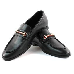 Men's Black Leather Dress Shoes Slip On Loafers With Gold Bu