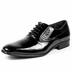 Men's Black Patent Leather Smooth Oxfords Round Formal Party