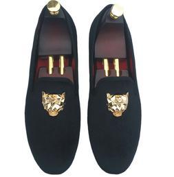 Men's Black Velvet Loafers Slip-on Dress Shoes with Gold Buc