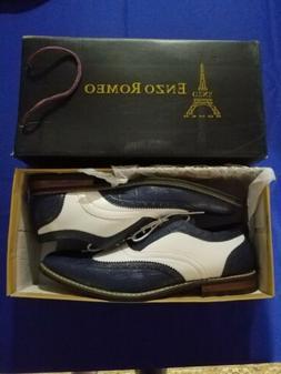 Men's Blue & White Wingtip Shoes - Size 12