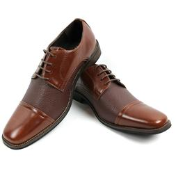Men's Brown Dress Shoes Cap Toe Lace Up Oxfords Leather Lini