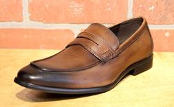 La Milano Men's Brown Leather SLip On Dress Shoes A11233