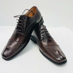 Men's Brown Oxford Two-Tone Gator Head Dress Shoes Amali US