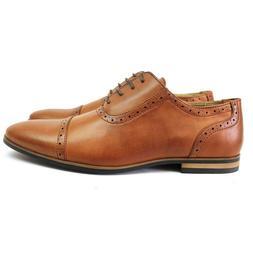 Men's Cognac Brown Cap Toe Detailed Formal Dress Shoes Oxfor