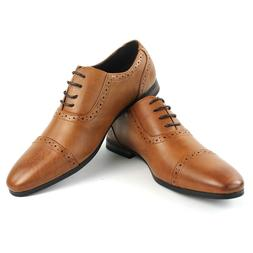 Men's Cognac Dress Shoes CapToe Detailed Lace Up Oxfords Lea