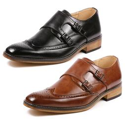 Men's Double Monk Strap Perforated Wing Tip Slip On Loafers