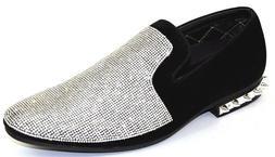 Men's Dress Casual Fancy Shoes Slip On Loafers Silver/Black