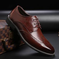 Men's Dress Formal Oxfords Shoes Leather Suit Lace up Brogue