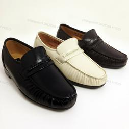 Men's Dress Loafers Leather Wide Width  Moc Toe Slip On Comf