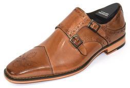 Men's Dress Shoes Cap Toe Monk Strap Tan Leather STACY ADAMS