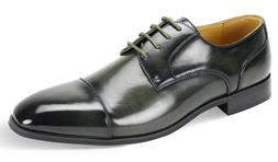 Men's Dress Shoes Cap Toe Oxford Burnished Olive Green ANTON