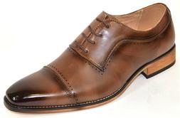 Men's Dress Shoes Cap Toe Oxford Brown Color Lace Up CONNLEY