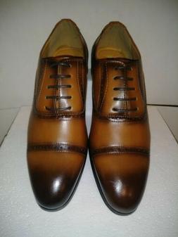 Men's Dress Shoes Cap Toe Oxford Cognac Lace Up Size 8 SANTI