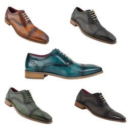 Men's Dress Shoes - Genuine Leather Cap Toe Oxfords, Lace Up
