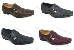 Brand New Men's Dress Shoes Loafers Elastic Slip On Crocodil