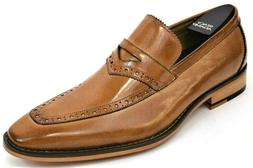 Men's Dress Shoes Moc Toe Penny Loafers Slip On Tan Leather