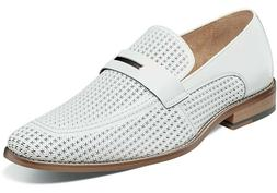 Men's Dress Shoes Moc Toe Slip On White Perforated Leather S