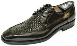 Men's Dress Shoes Moc Toe Woven Oxford Black Buffalo Leather