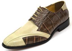 Men's Dress Shoes Plain Toe Oxford Brown & Beige 2-Tone LS-1