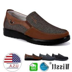 Men's Dress Shoes Slip on Driving Canvas Leather Casual Boot