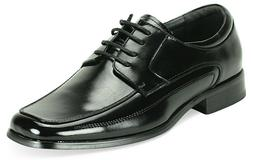 Men's Dress Shoes Square Toe Oxford Lace Up Black Leather GI