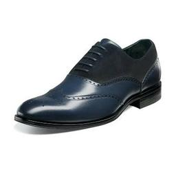 Men's Stacy Adams Dress Shoes STANBURY 25070 Navy Blue Wing