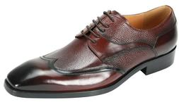 Men's Dress Shoes Wing Tip Oxford Burgundy Leather Lace Up G
